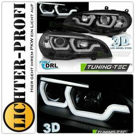Led Tagfahrlicht 3D Angel Eyes Scheinwerfer schwarz für BMW X5 E70 Baujahr 2007 - 2013