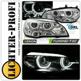 Led Tagfahrlicht 3D Angel Eyes Xenon Scheinwerfer mit und ohne AFS chrom für BMW X5 E70 Baujahr 2007 - 2010