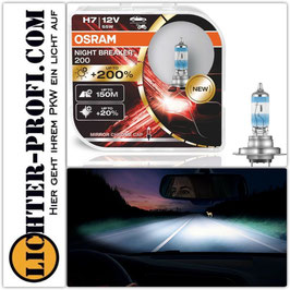 Osram H7 12V NIGHT BREAKER 200 bis zu 200% mehr Licht