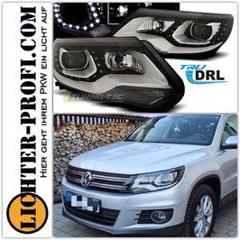 Led Tagfahrlicht DRL Scheinwerfer schwarz für VW Tiguan Baujahr 2011-2015