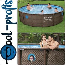 BESTWAY Power Steel Swim Vista Pool Swimmingpool Rattan Optik Zubehör 488 x 122 cm