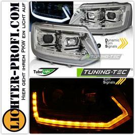Tube Light Led Tagfahrlicht Scheinwerfer dynamisch chrom für VW T5 Bus Baujahr 2009 - 2015