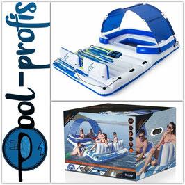 BESTWAY Badeinsel Tropical Breeze Schwimminsel aufblasbar 6 Personen 389 x 274 cm