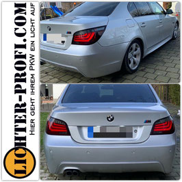 Led Lightbar Rückleuchten rot / smoke für BMW 5er E60 Limousine Baujahr 2007 - 2010