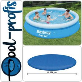 BESTWAY Fast Set Pool Swimmingpool Rund + Abdeckung 366x76 cm