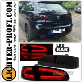 Voll Led Lightbar Rückleuchten schwarz smoke für Seat Ibiza 3 III 6L Baujahr 2002 - 2008