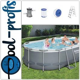 BESTWAY Power Steel Frame Pool Set Filteranlage Leiter Dosierer 427 x 250 x 100cm