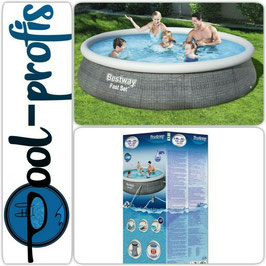 BESTWAY Fast Set Pool Swimmingpool Rund Rattan Optik Filterpumpe 396 x 84 cm