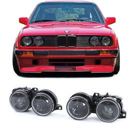 Frontscheinwerfer Set Klarglas schwarz mit Fadenkreuz für BMW E30 Baujahr 1987 bis 1993