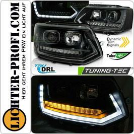 Tube Light Led Tagfahrlicht Scheinwerfer dynamisch schwarz für VW T5 Bus Baujahr 2009 - 2015