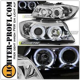 Angel Eyes Scheinwerfer chrom mit LED Ringen für BMW E90 E91 Limo Touring Baujahr 2005-08
