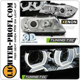 3D LED Angel Eyes Xenon Scheinwerfer chrom für BMW E90 E91 Limo Touring Baujahr 2005-08