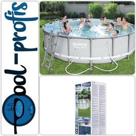 BESTWAY Power Steel Pool Swimmingpool Filterpumpe Leiter Abdeckung 488 x 122 cm