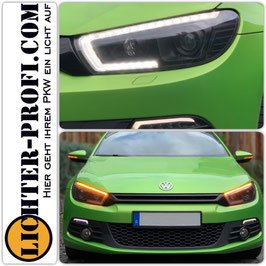 Xenon Led Lightbar Tagfahrlicht Scheinwerfer dynamisch schwarz für VW Scirocco 3 III Vorfacelift Baujahr 2008 - 2014