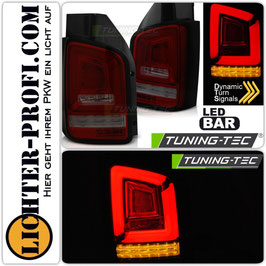Voll Led Lightbar Rückleuchten dynamisch rot smoke für VW T5 Bus Heckklappe Baujahr 2003 - 2009