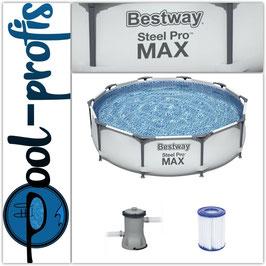 BESTWAY Steel Pro Max Frame Pool Swimmingpool Filteranlage rund 305 x 76cm