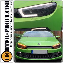 Led Lightbar Tagfahrlicht Scheinwerfer dynamisch schwarz für VW Scirocco 3 III Vorfacelift Baujahr 2008 - 2014