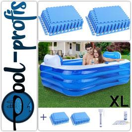 RELAX Pool Kopfstützen  2x Cup 160 x 130 x 60cm + Schutzmatte Thermometer Wassertester