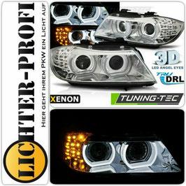 3D LED Angel Eyes Xenon Scheinwerfer mit LED Blinker chrom für BMW E90 E91 Limo Touring Baujahr 2008-11