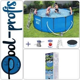BESTWAY Steel Pro Max Pool Swimmingpool Filterpumpe Leiter Abdeckung 366 x 122 cm