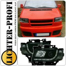 Led TFL Optik Scheinwerfer schwarz für VW T4 Bus langer Vorderwagen Baujahr 1996 - 2003