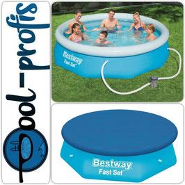 BESTWAY Fast Set Pool Swimmingpool Rund Filterpumpe Abdeckung 305 x 76 cm