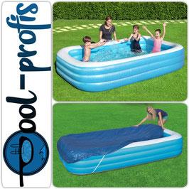 BESTWAY Family Pool Swimmingpool Rechteckig + Abdeckung 305 x 183 x 46 cm