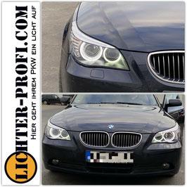 CCFL Xenon D1S Angel Eyes Scheinwerfer in Schwarz für BMW E60 E61 Limousine Touring Baujahr 2005 - 2007