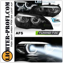 Voll Led 3D Tagfahrlicht Scheinwerfer mit und ohne AFS schwarz für BMW X5 E70 Baujahr 2007 - 2013