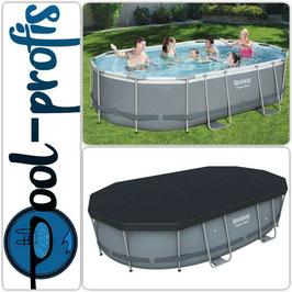 BESTWAY Power Stahl Frame Pool Swimmingpool Pumpe Leiter Abdeckung 488 x 305