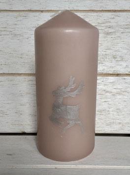 Kerze Altrosa mit Hirsch in Silber