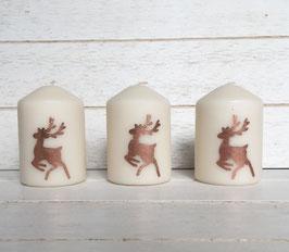 Kerze Beige mit Hirsch in Roségold