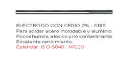 TUNGSTENO  CERIO 2 % GRIS