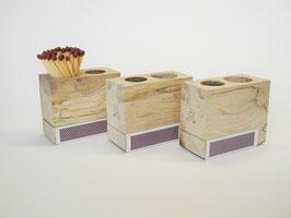 Streichholzkubus aus gestocktem Efeu Holz