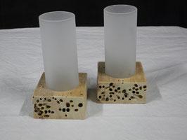 Windlichter aus Treibholz und Glas