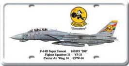 F-14 D Super Tomcat Licence Plate