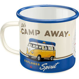 VW Bulli Camp Away Emaille Becher