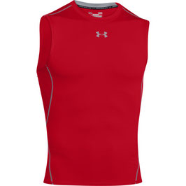 UNDER ARMOUR Heat Gear Kompression Sleeveless Shirt Red / Steel