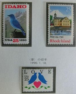 アイダホ州・ロードアイランド・愛の切手