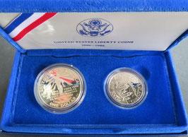 自由の女神記念プルーフ銀貨1ドル・50セント
