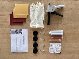 4x Shock Mounts + Kleber Set Herman Miller Fiberglas Side-/Armchair + Kartuschenpresse