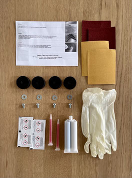 4x Shock Mounts + Kleber Set Herman Miller Fiberglas Side-/Armchair