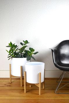 L Mid Century modern Design Planter Blumentopf Eiche