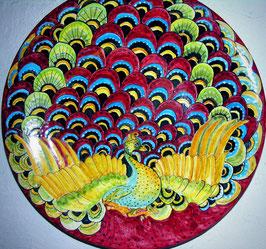 piatto di ceramica il pavone dimensione 50 cm