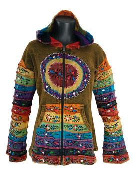 Ethno Hippie Patchwork Jacke Regenbogen