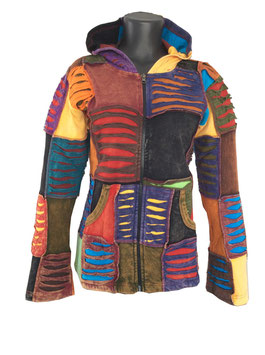 Nepal Hippie Patchwork Jacke Ripped Look