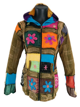 Ethno Hippie Patchwork Jacke Flower Power