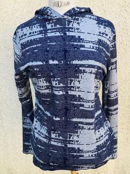 T-shirt jersey à capuche, aux rayures cassées gris-marine