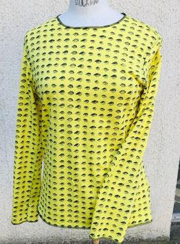 """T-shirt jersey à manches longues, imprimé """"Tchang"""" jaune"""