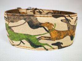 "Zugstopp-/Martingale-Halsband mit Windhund-Motiv ""Windi Laufhund beige"""